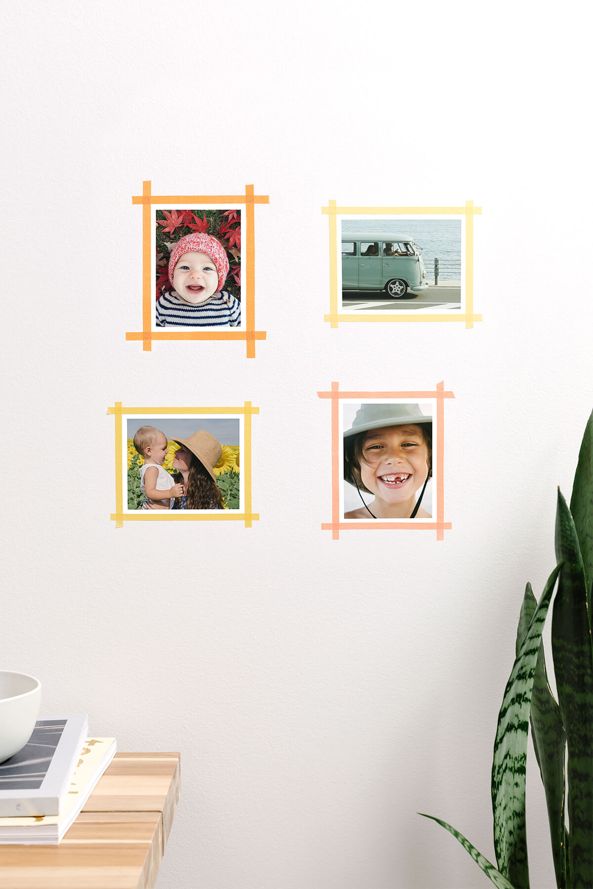 Washi tape framed around prints on wall