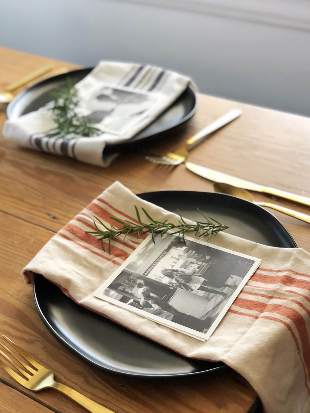 Photos used as table place settings for holiday meal