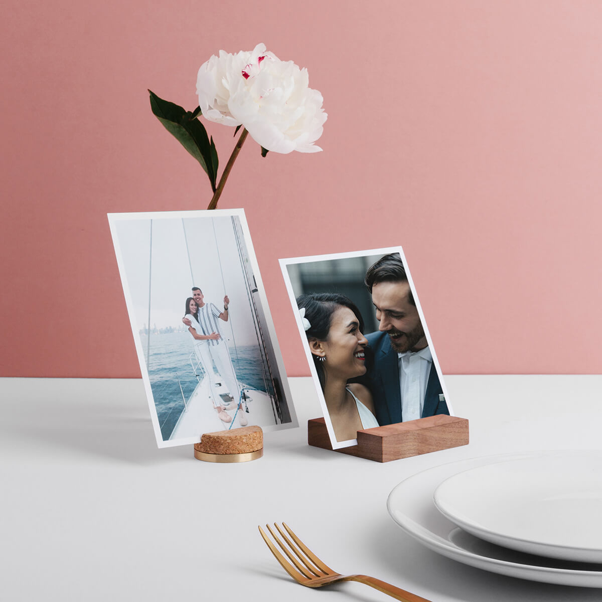 Simple wooden photo block holding print