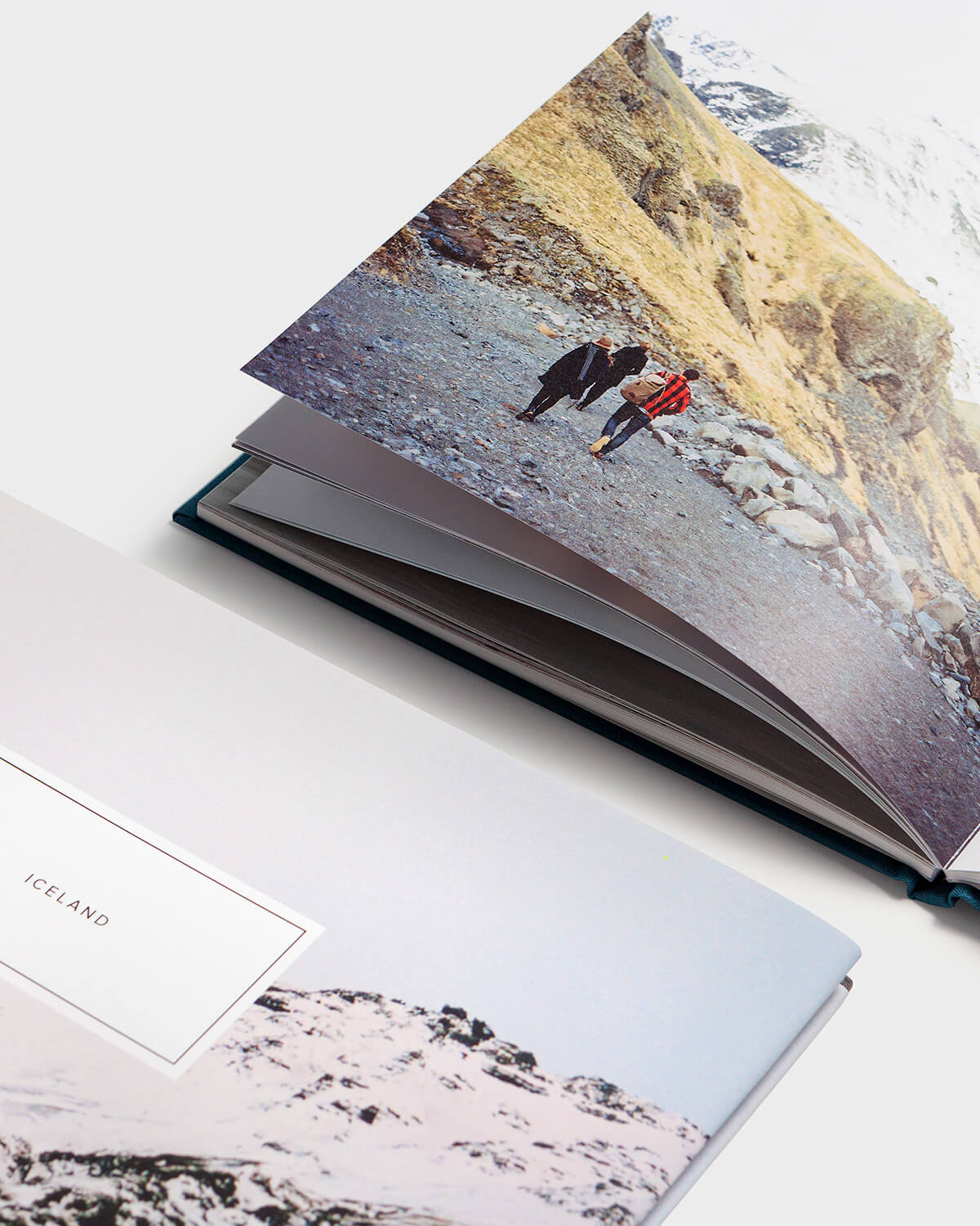 hardcover photo book containing photos of trip to Iceland