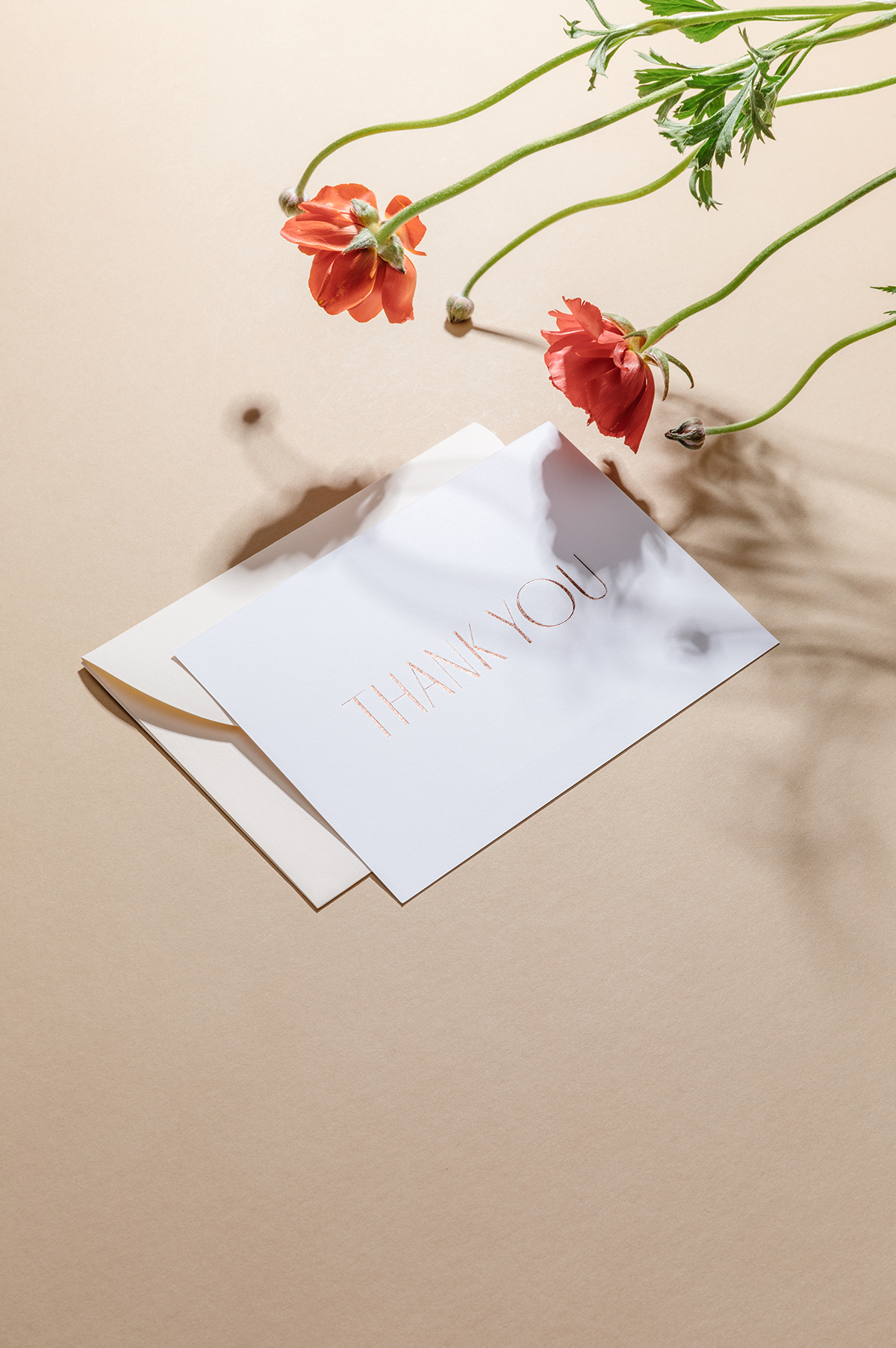 minimalist letterpress thank you card with foil