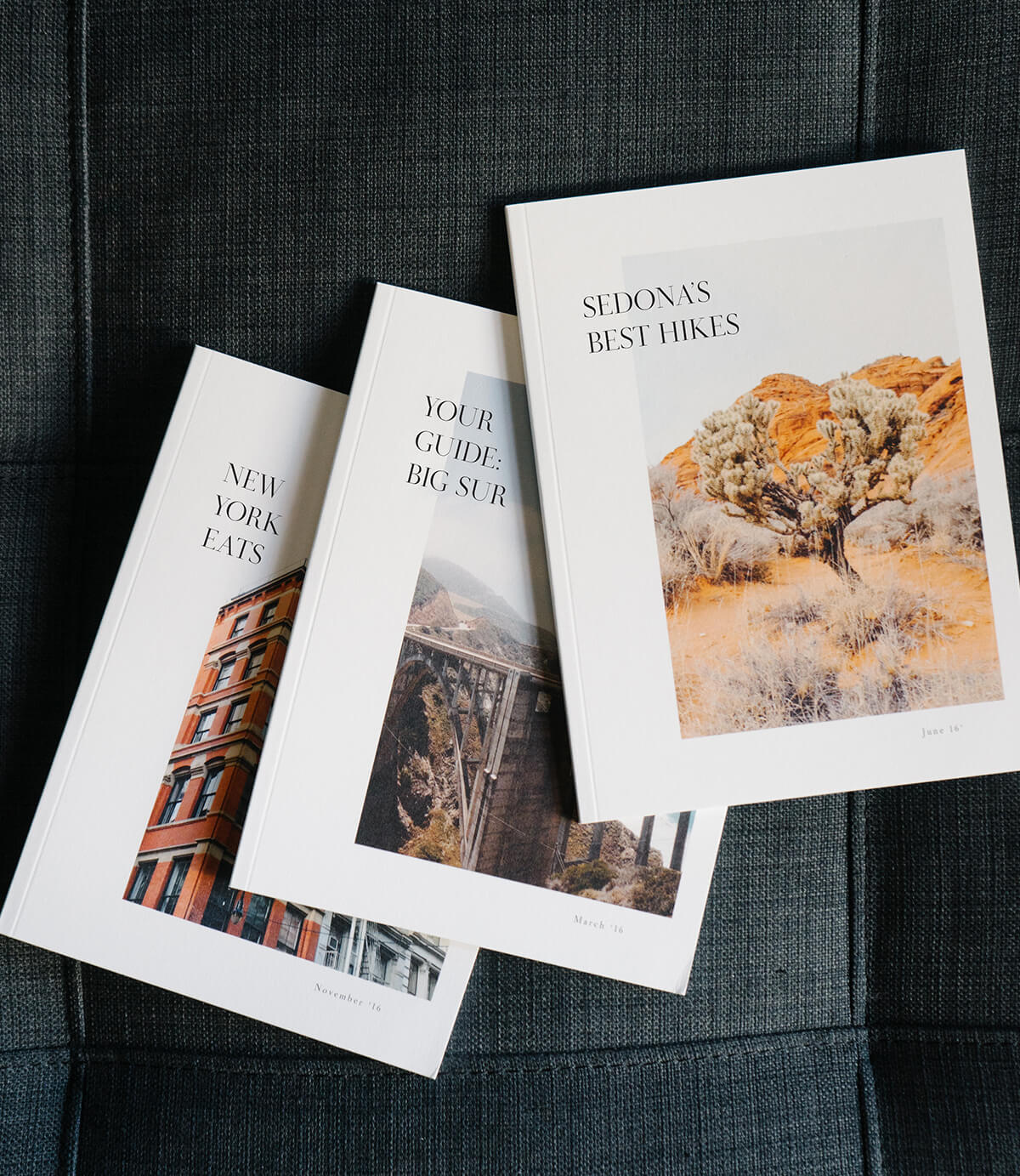 Artifact Uprising Softcover Photo Book being used as city guide books for an Airbnb