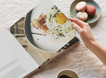 DIY cookbook opened up to breakfast recipe