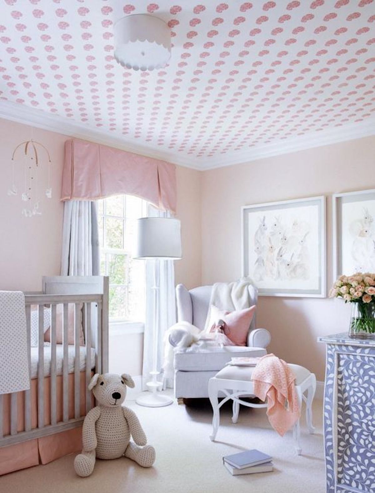 Wallpaper on ceiling in nursery