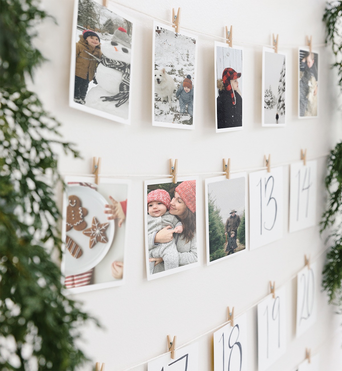 Advent calendar created using photo prints