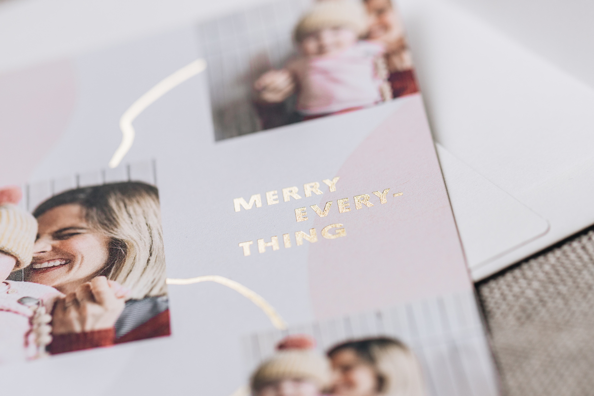 Zoomed in on gold foil on Merry Trio Holiday card