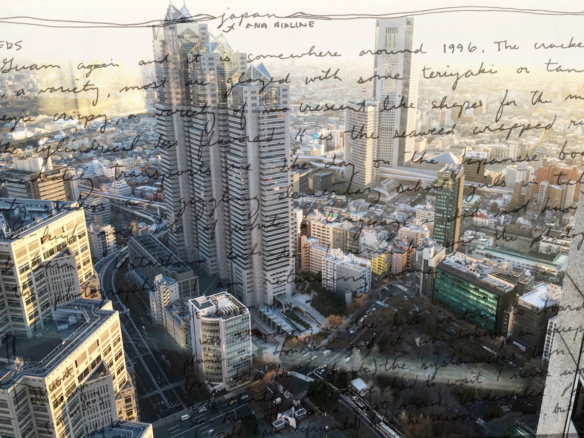 Overhead photo of Tokyo taken from hotel window with journal entry overlay on photo
