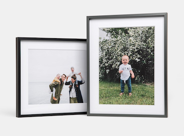 Framed photos of child