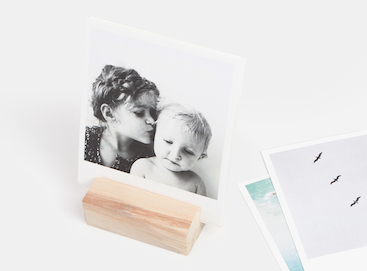 Photo print of siblings on wooden print block