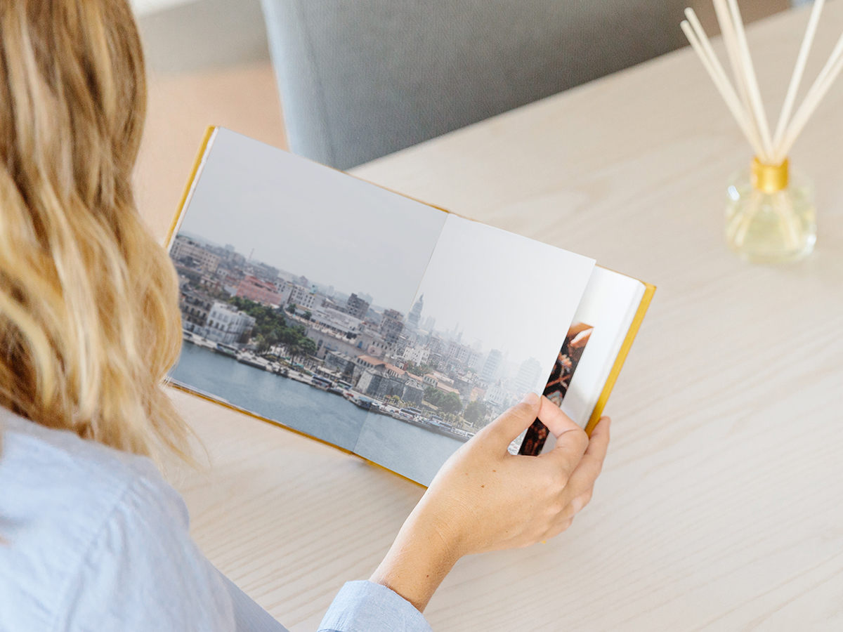 Everyday Photo Book opened to two page image of coastal city