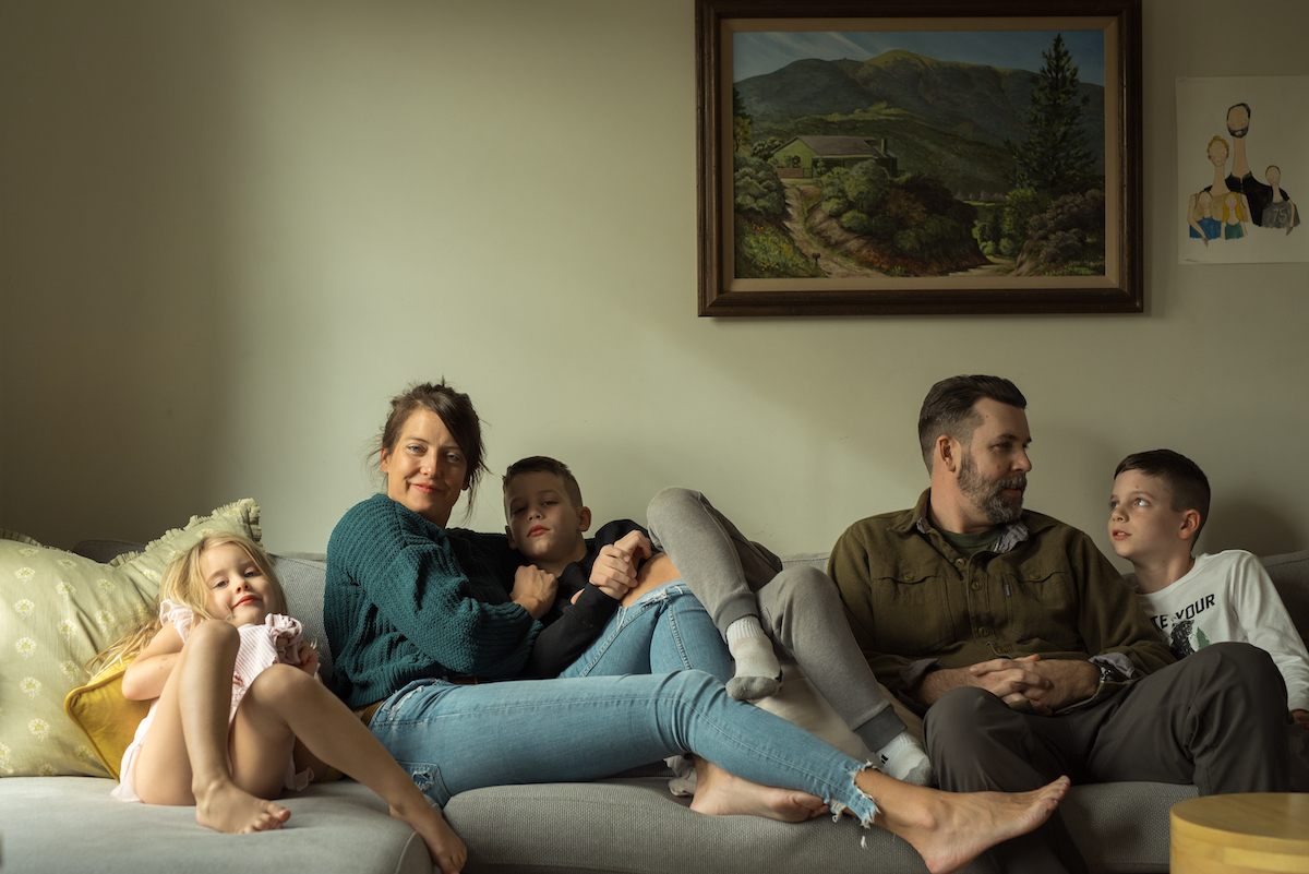 Liz Young with her family on the couch