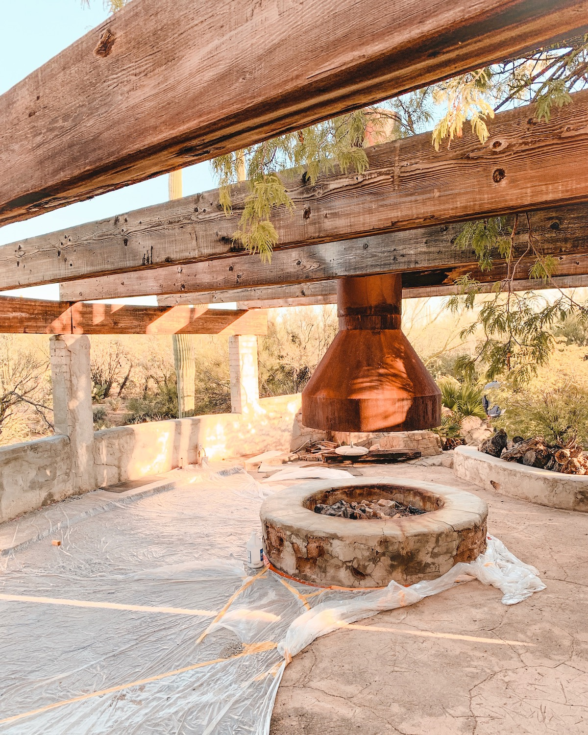 Before picture of patio and fireplace at The Joshua Tree House