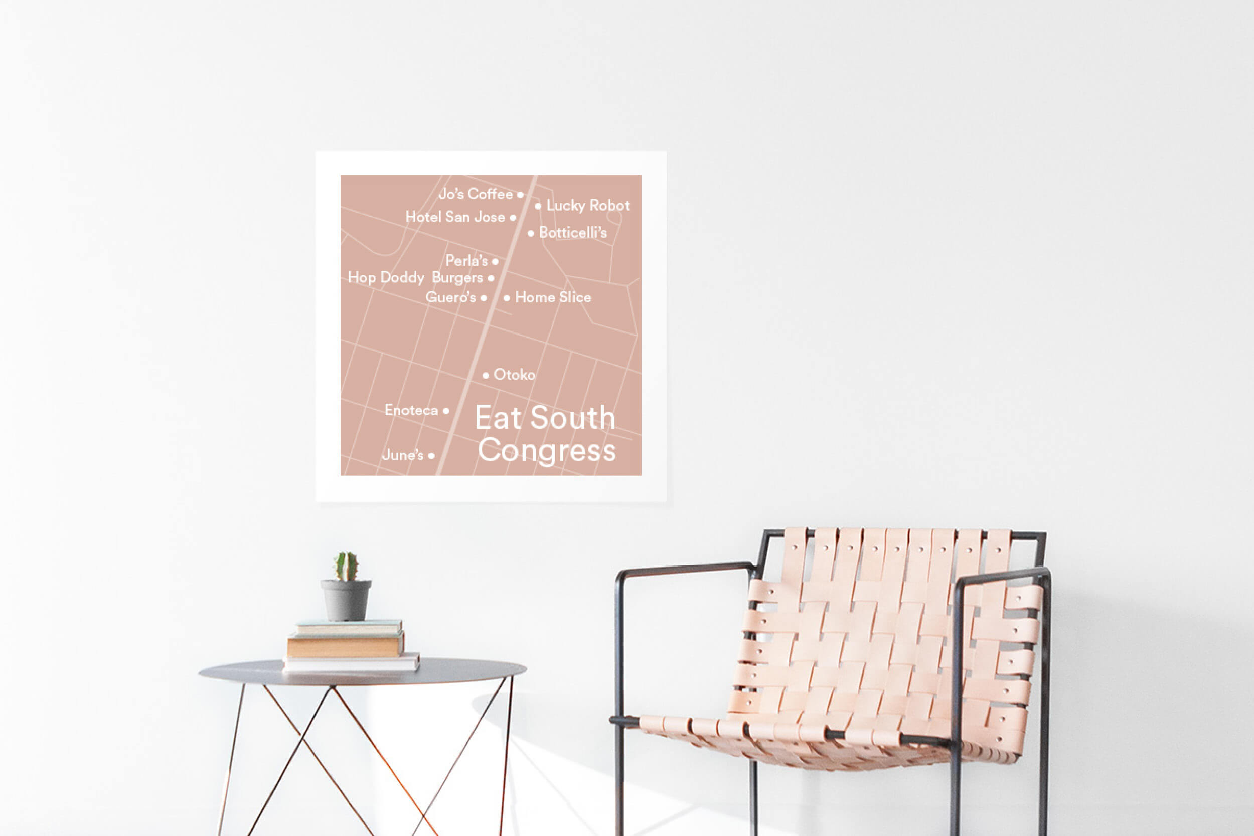 Printed map of neighborhood restaurants on the wall