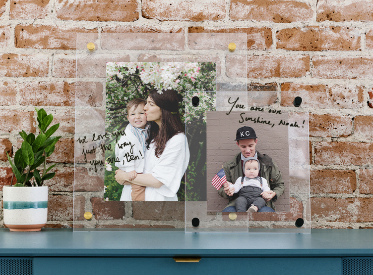 floating frames featuring family photos resting on dresser