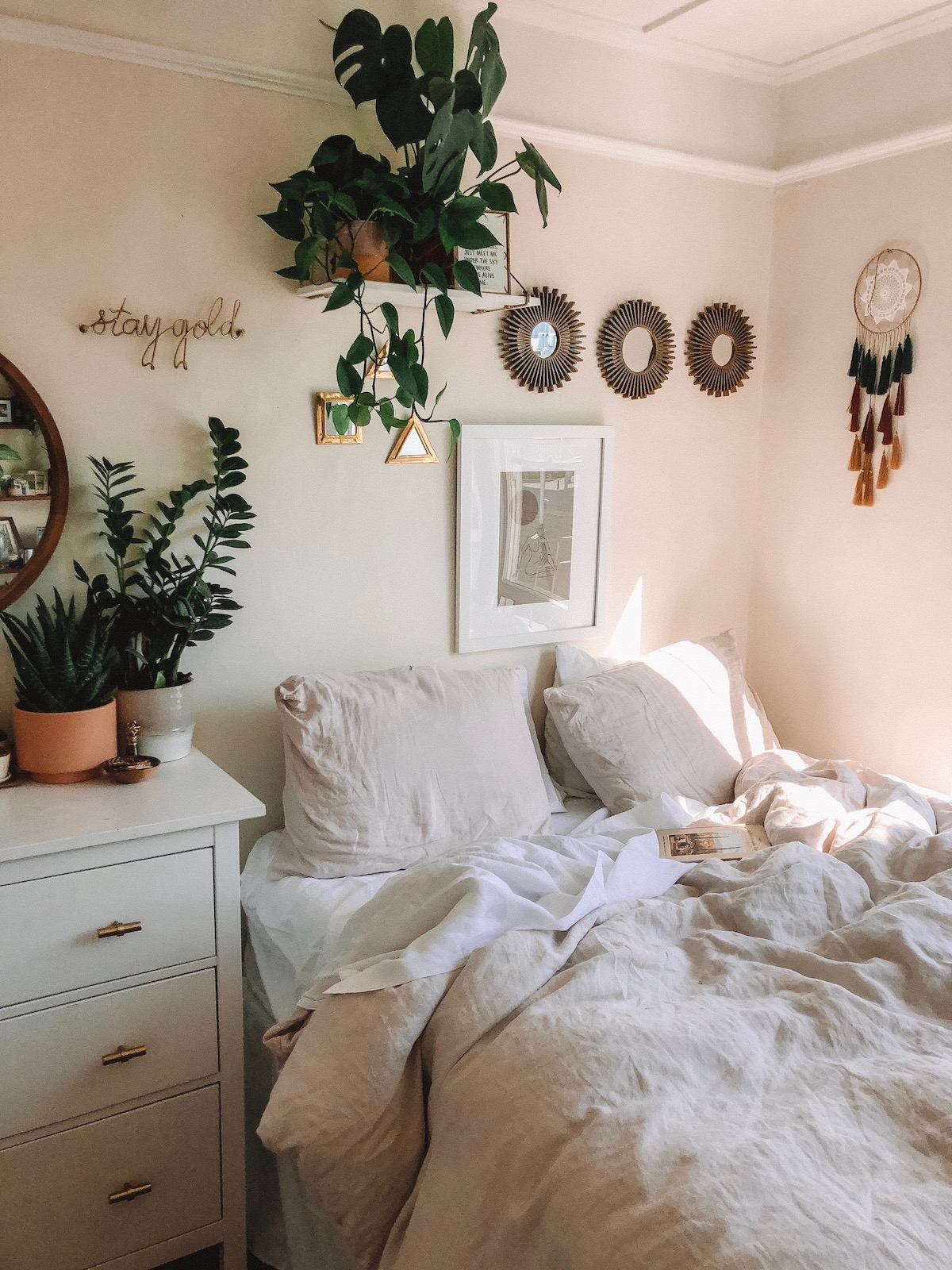 Bedroom design using multiple tones in a color family
