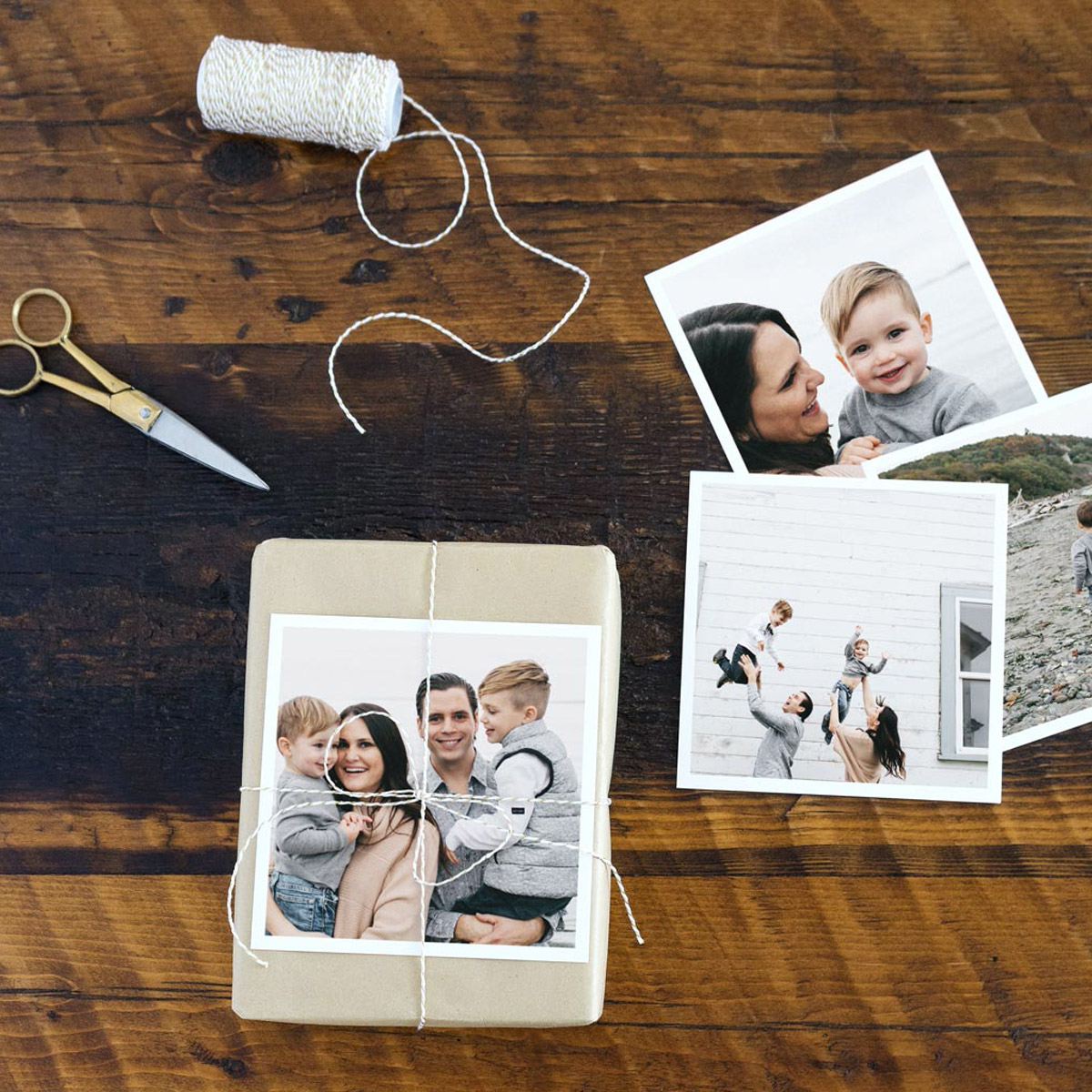 Gift wrapped using photo print as embellishment