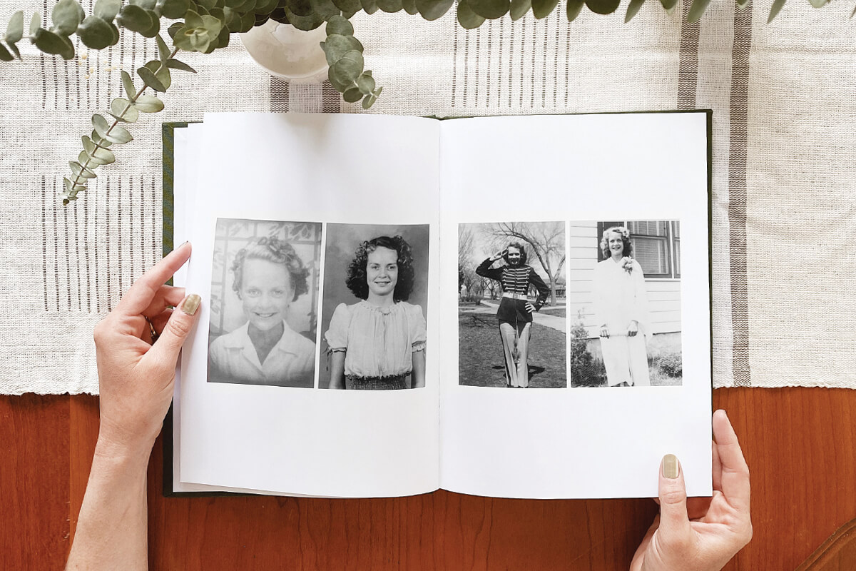 black and white photos of a woman scanned into a photo book