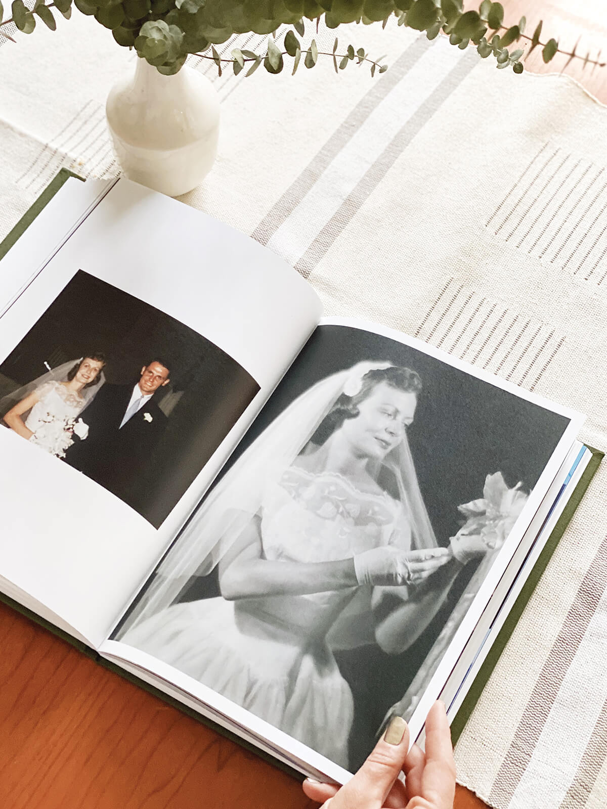 old wedding photos scanned into a photo book