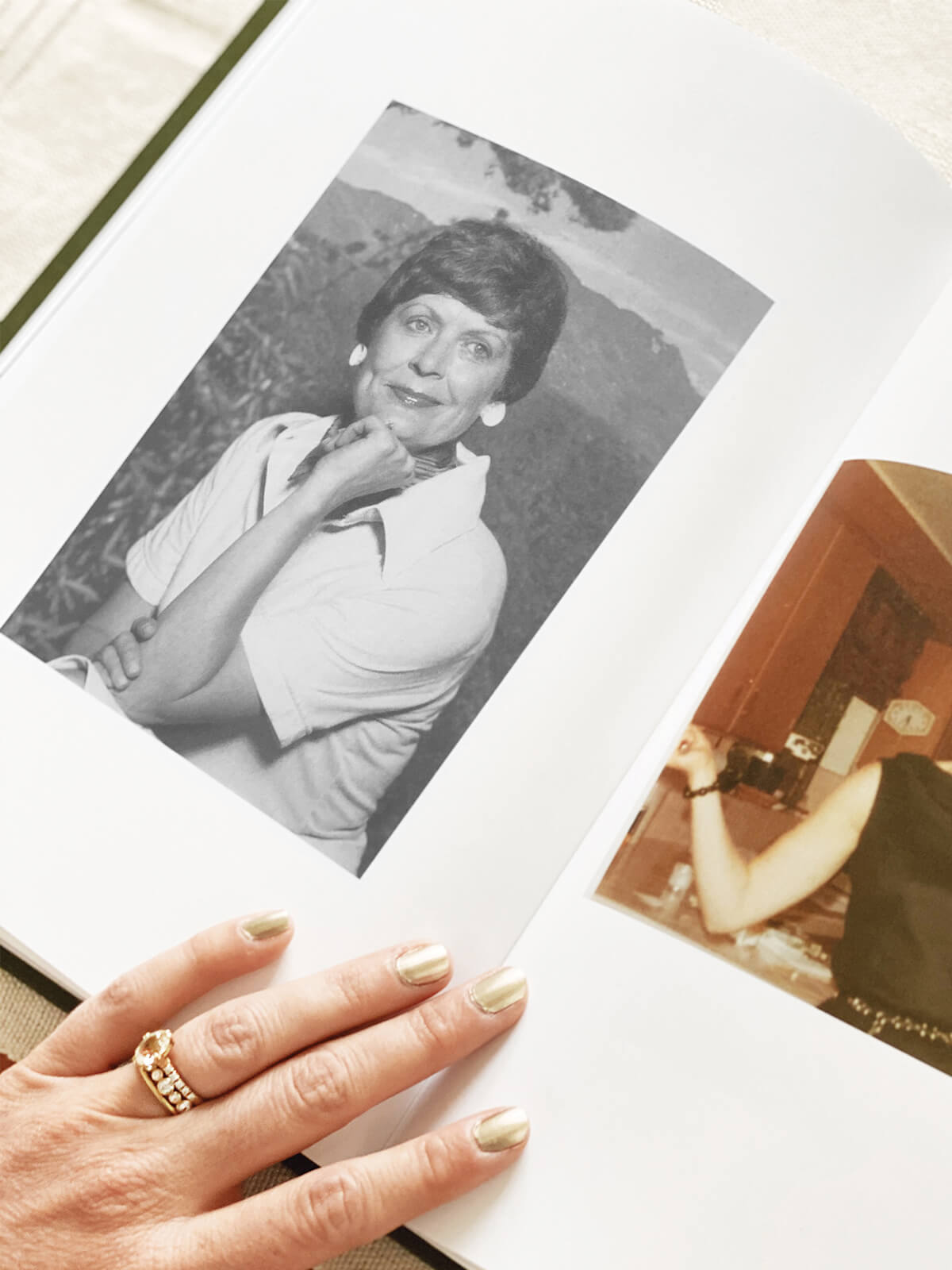 black and white portrait in a photo book