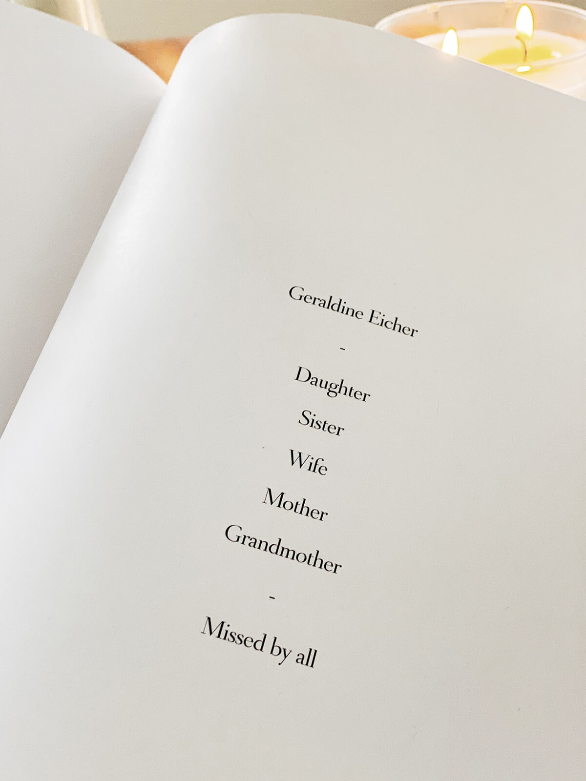 photo book dedication page