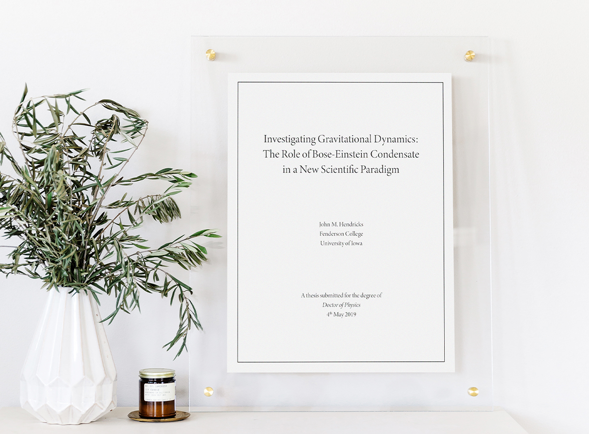 Physics thesis enlarged and printed in Artifact Uprising Floating Frame