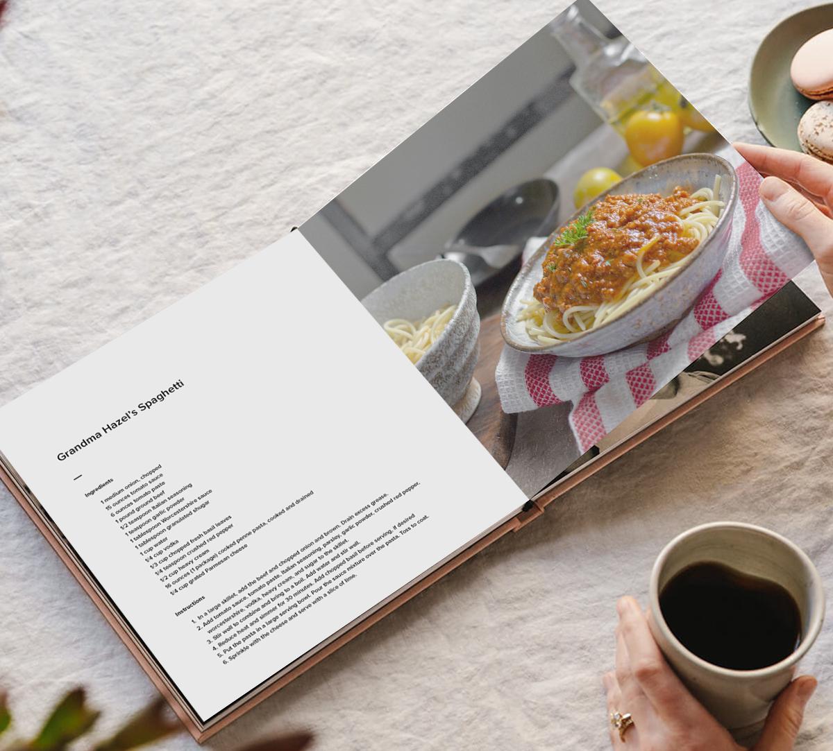 Family spaghetti recipe in Artifact Uprising Layflat Photo Book printed as cookbook