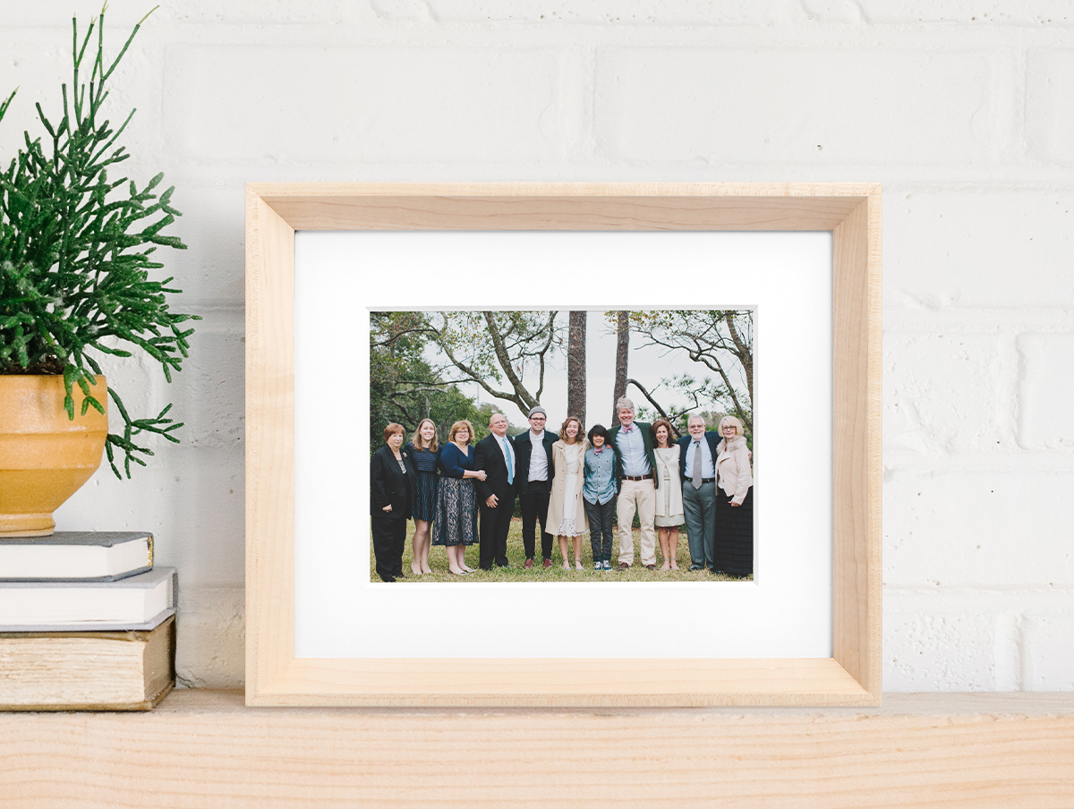 Family photo in Artifact Uprising Wooden Tabletop Frame in Maple