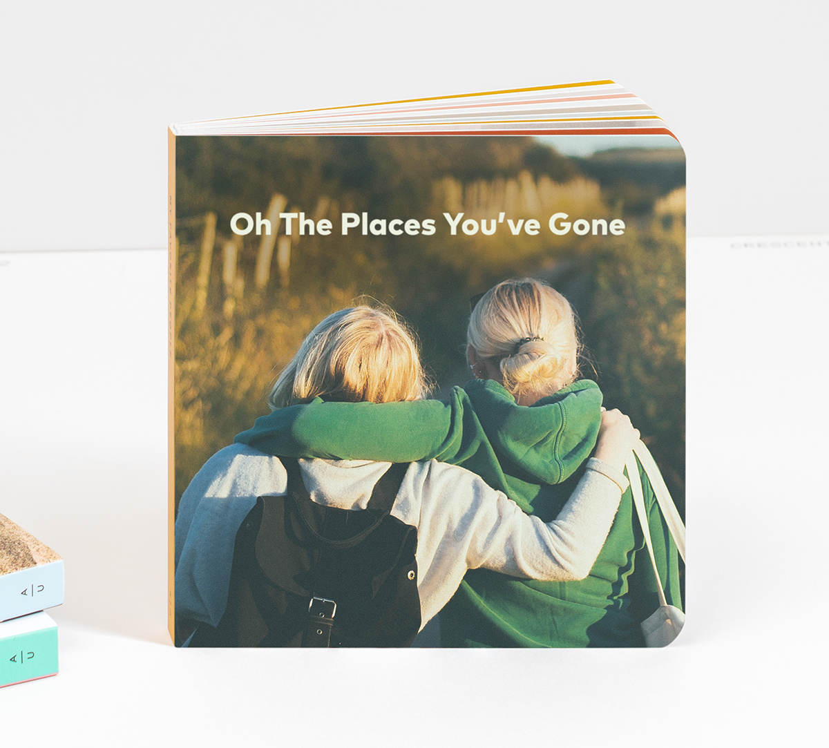 Artifact Uprising Baby Board Book titled Oh the Places You've Gone with photo of two young friends on cover