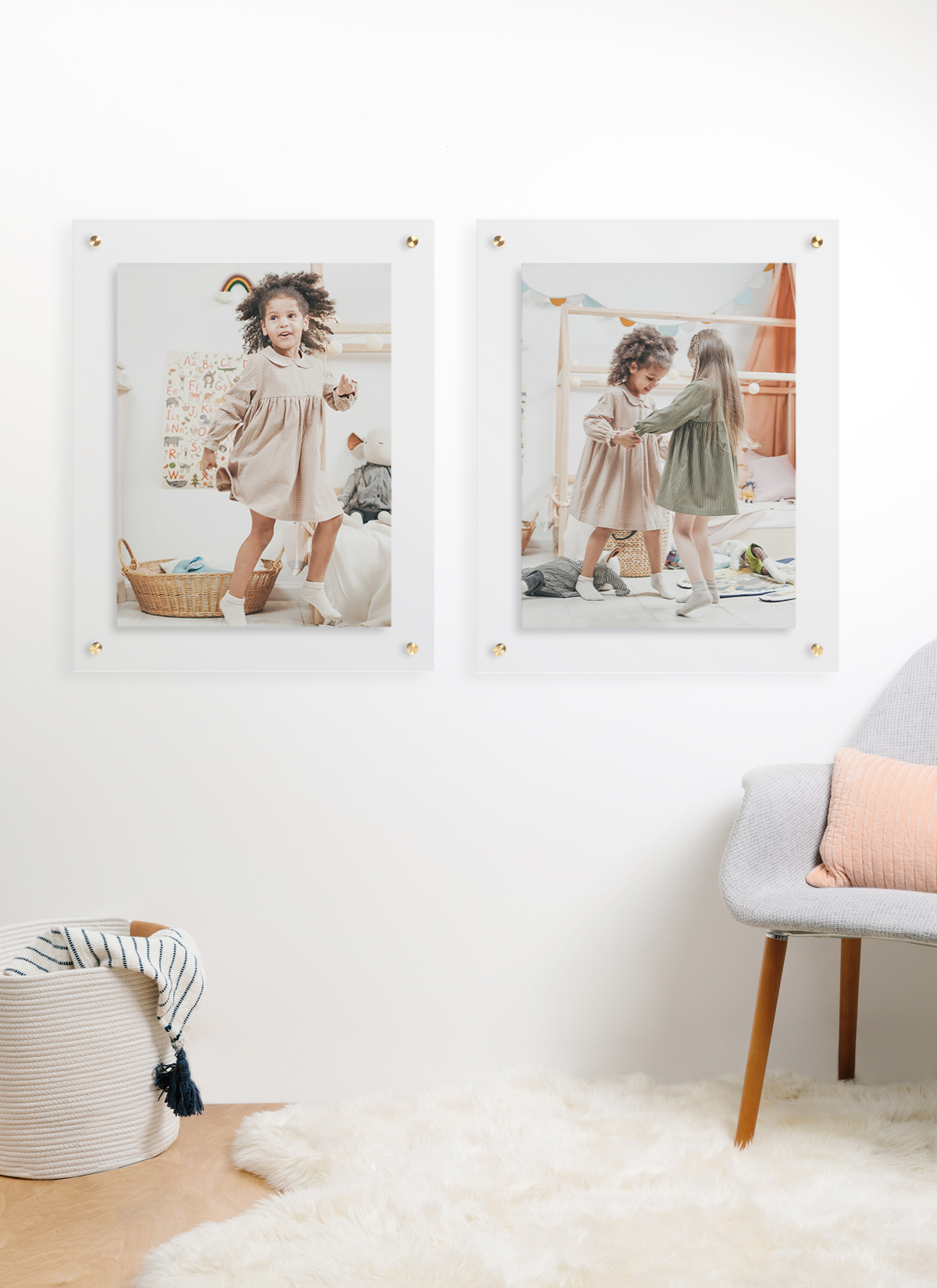 Two large Artifact Uprising Floating Frames on wall featuring photo of little girl