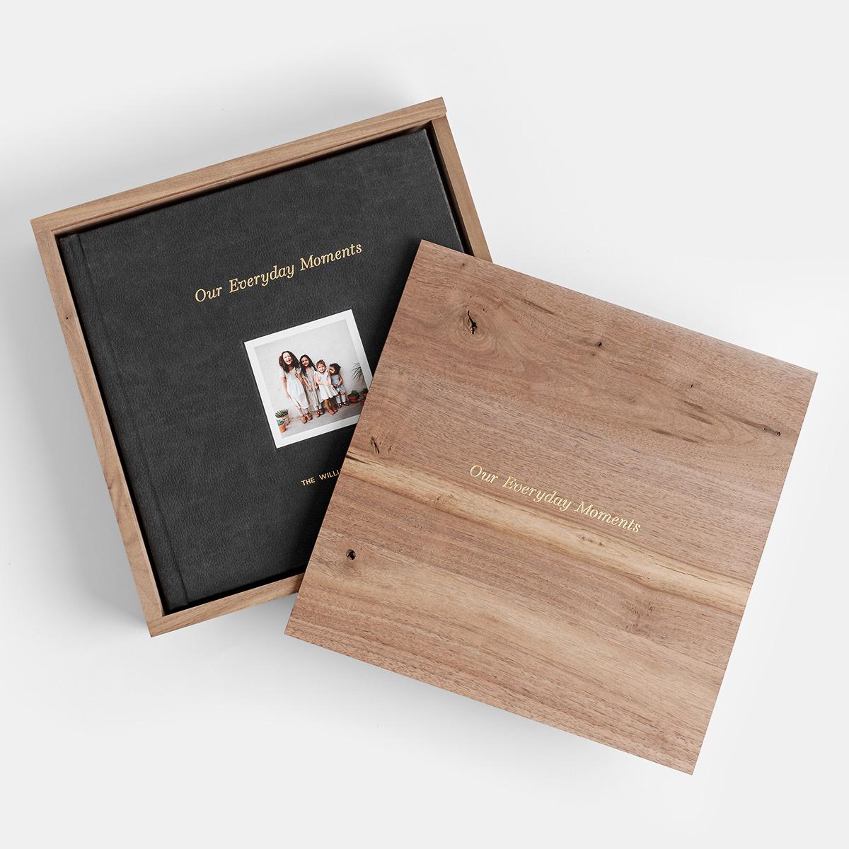 Custom walnut photo book storage box