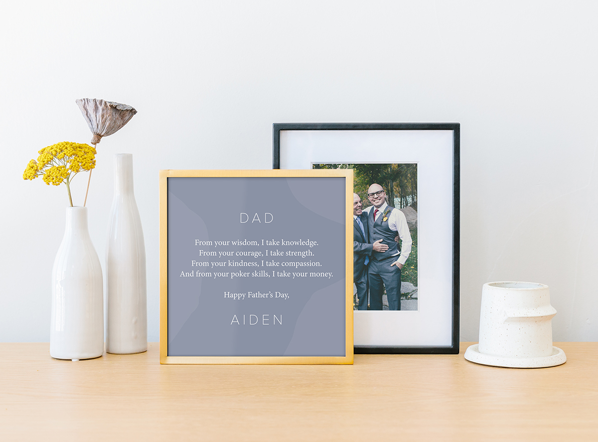 Framed handwritten note for Father's Day