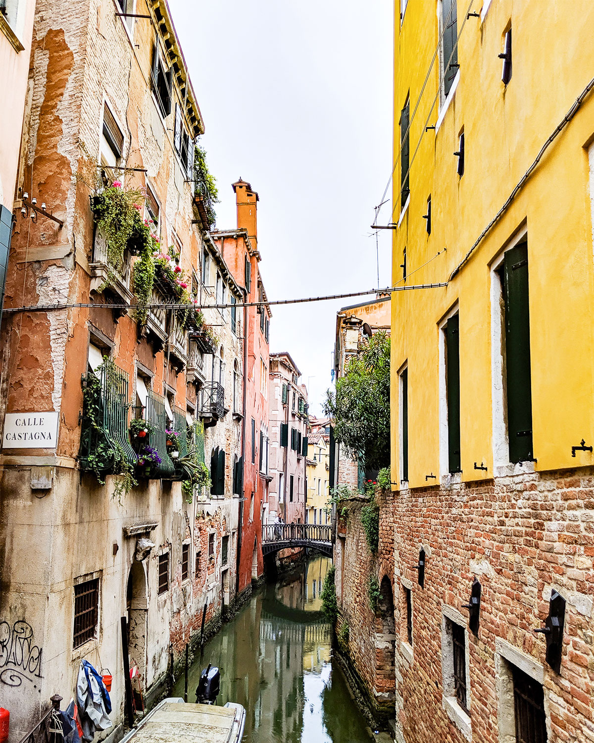 Scenic water channel in Italian city