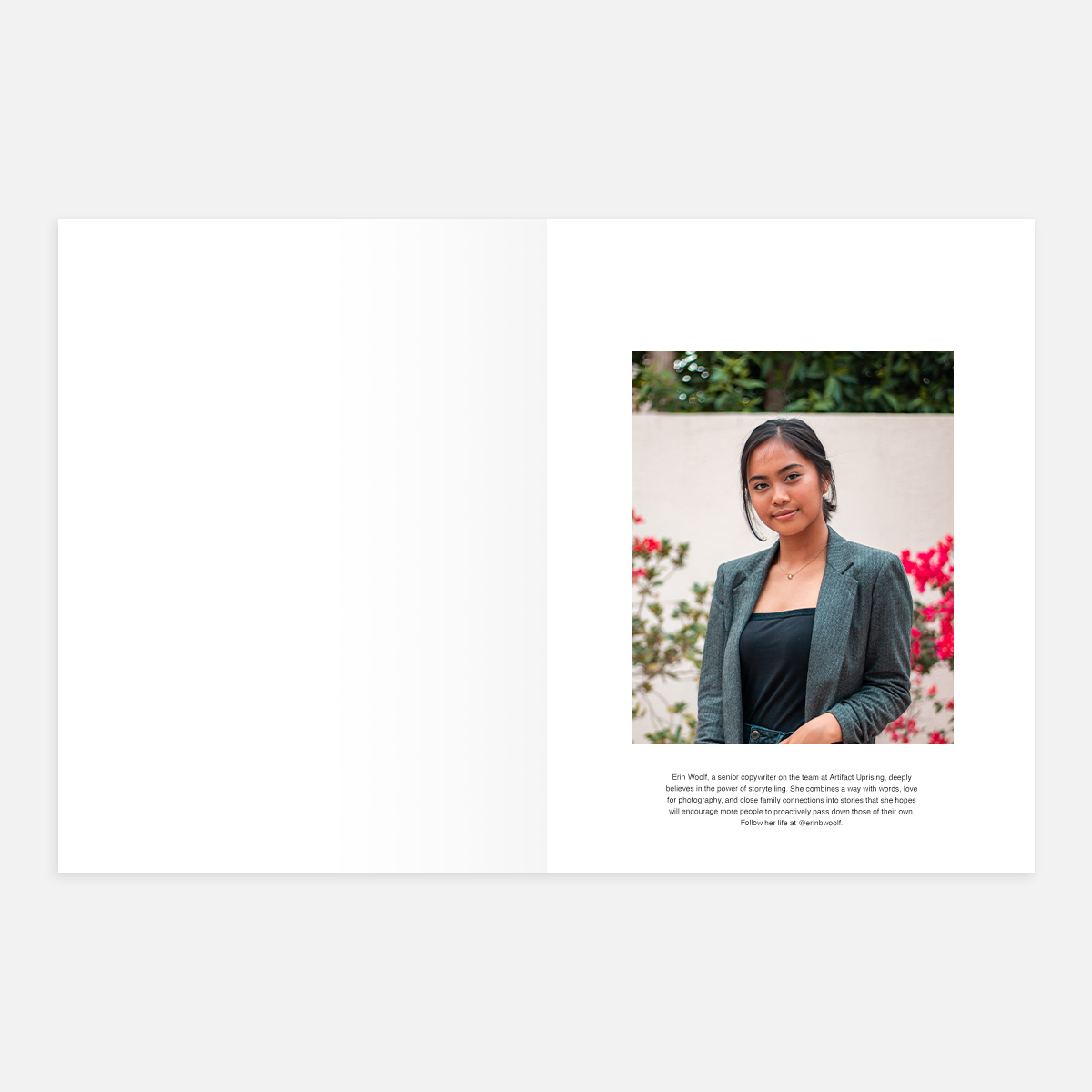 Large Portrait - Caption layout in Softcover Photo Book