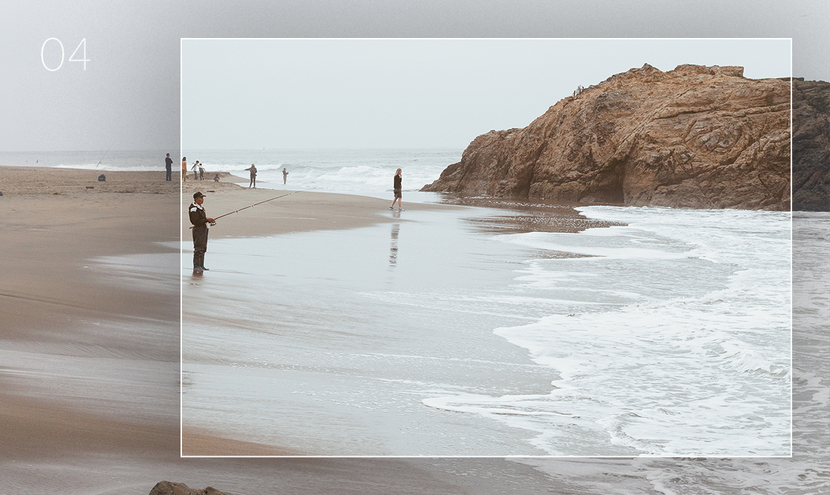 lightroom preset applied to photo of people walking along the coast