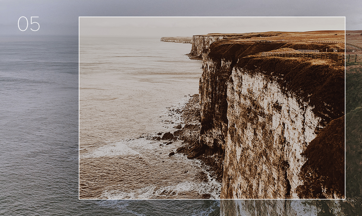 lightroom preset applied to photo of seaside cliffs