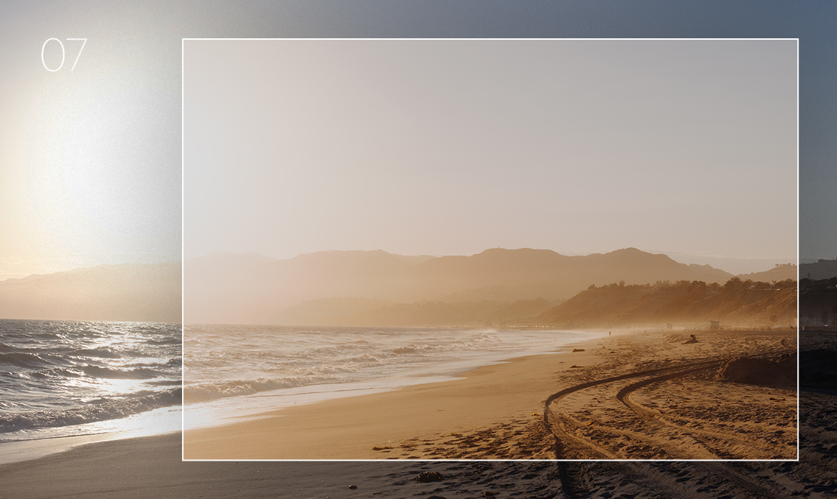 lightroom preset applied to photo of beach at golden hour