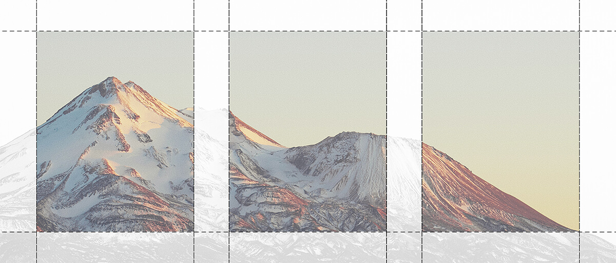 Diagram showing how to crop a photo into multiple images for a gallery wall