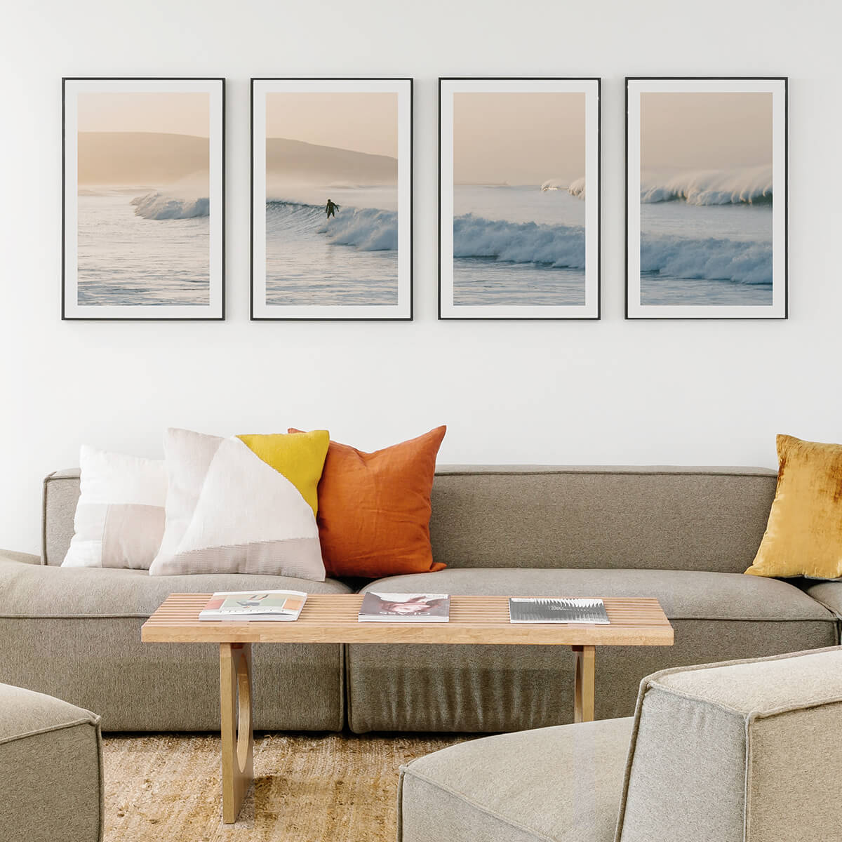 Surfing landscape photo split into four frames hanging above couch