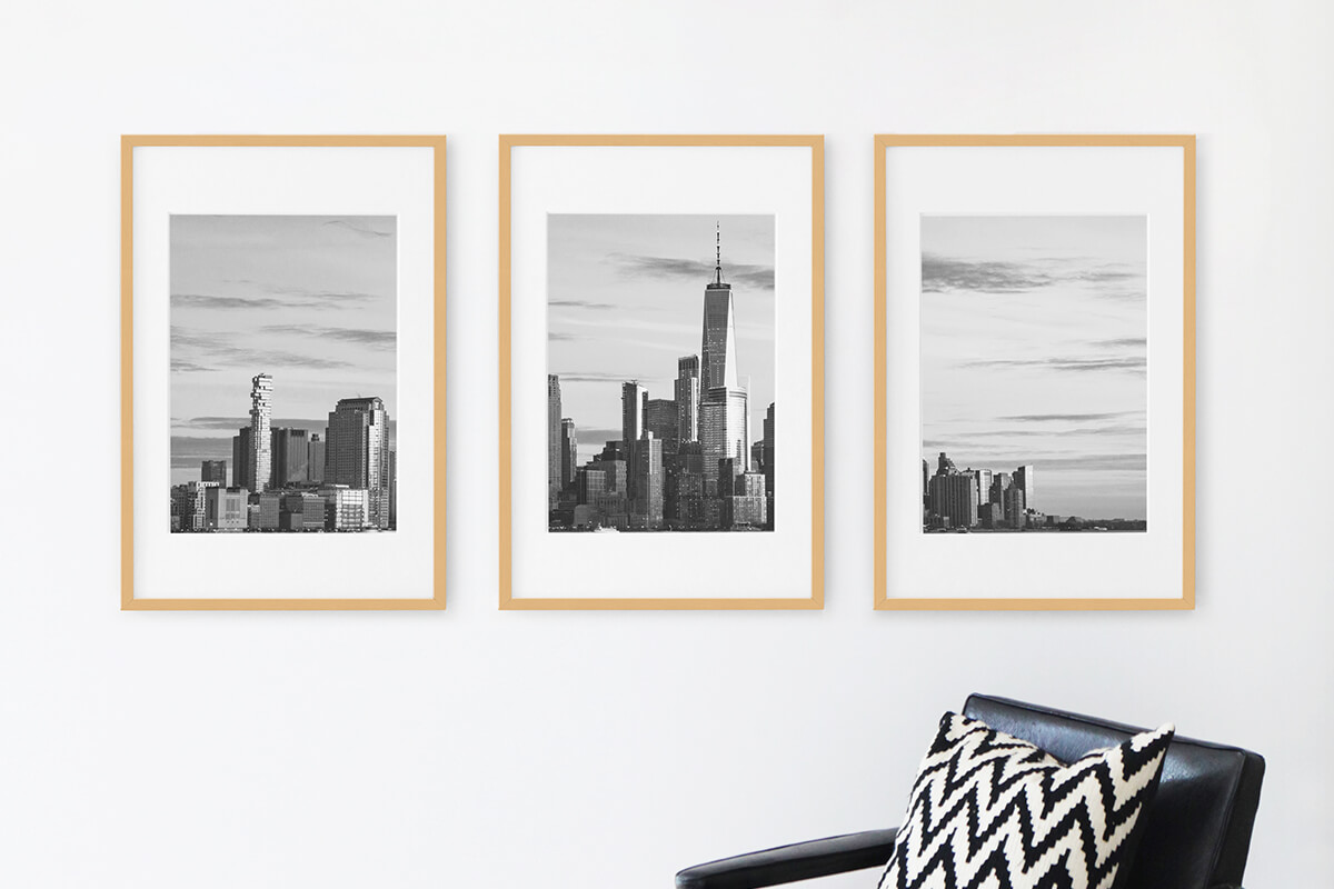 Triptych gallery wall of cityscape photo in Modern Metal Frames from Artifact Uprising