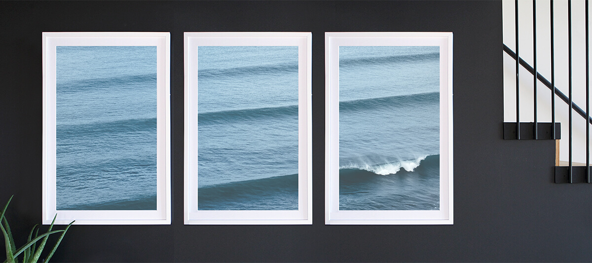 Triptych gallery wall of rolling waves illustrating rule of thirds