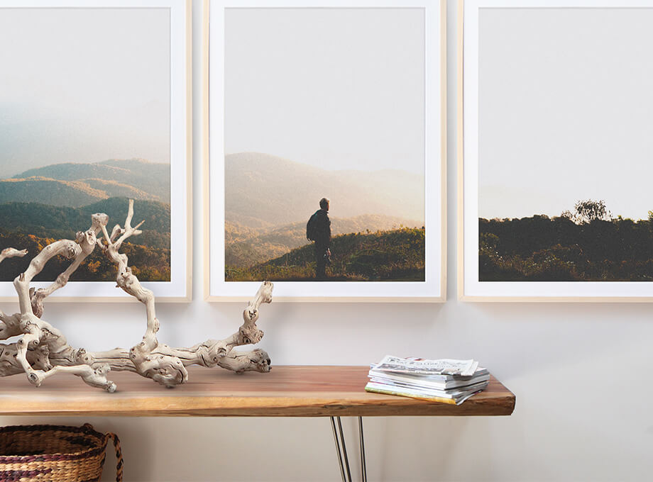 Photo of rolling hills split across three wall frames