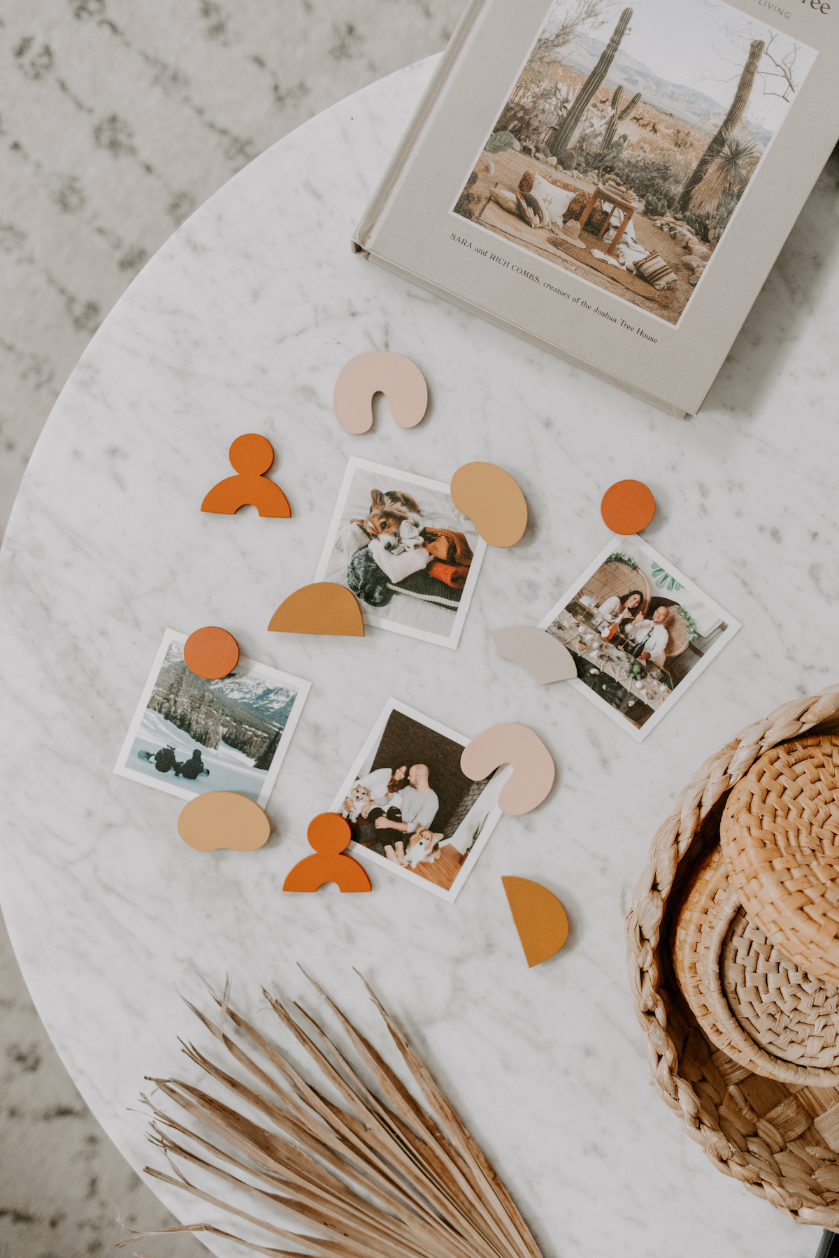 Assortment of photos on a marble table