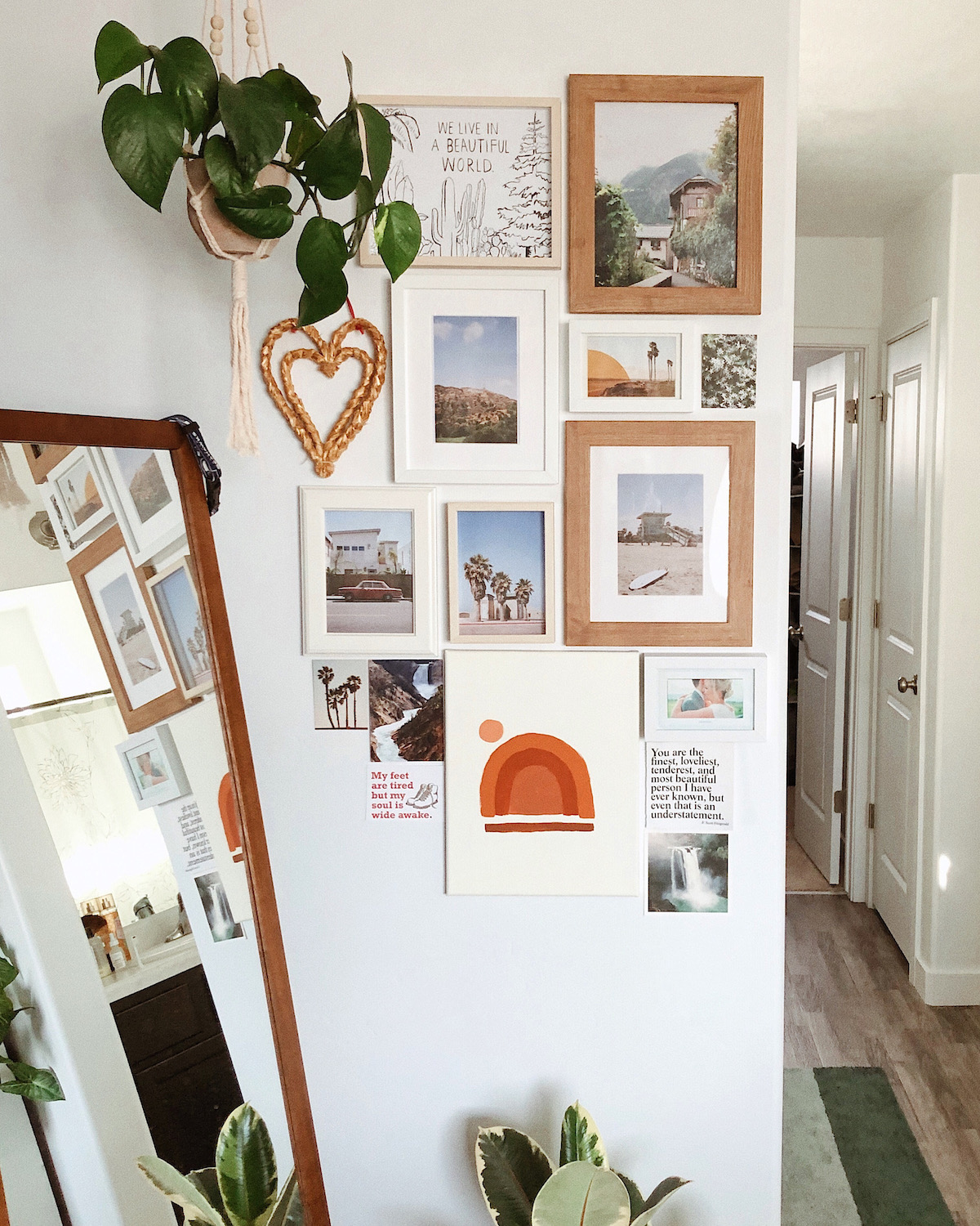 Gallery wall comprised of photos and other art, with or without frames