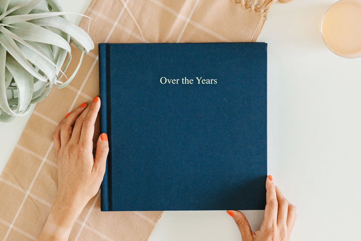 Anniversary photo album titled Over the Years