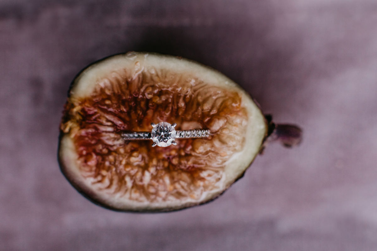 Engagement ring in apricot