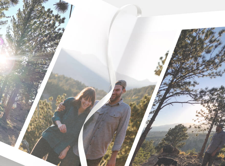 Zoomed in on open Signature Layflat with photo of couple camping on page