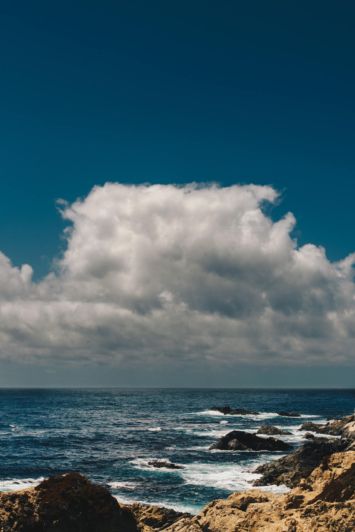 A cloud over the ocean and shoreline