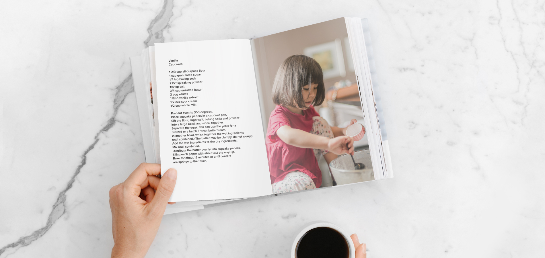 DIY recipe book with photo of little girl making cupcakes