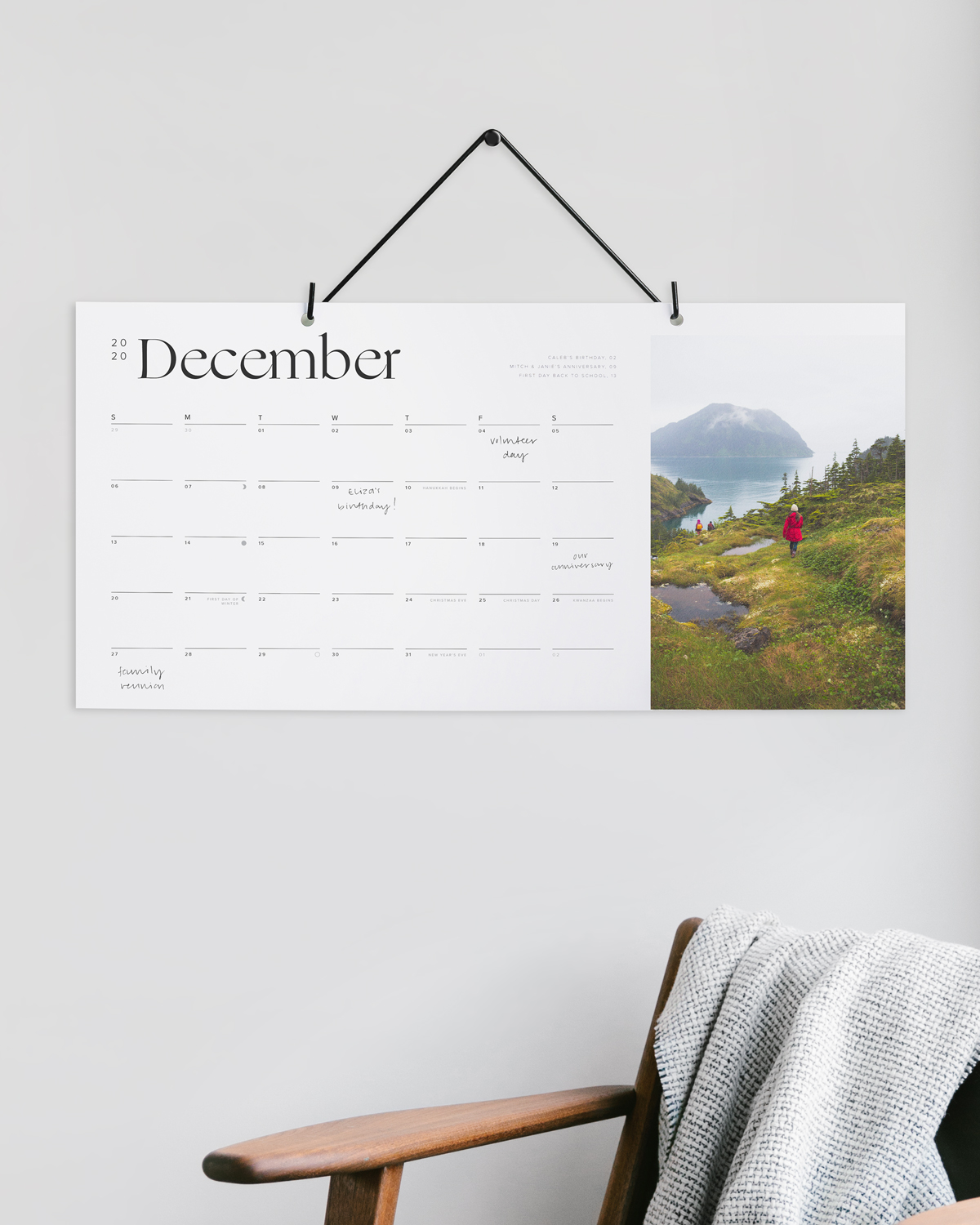 Unique wall calendar with travel photo on right side of page