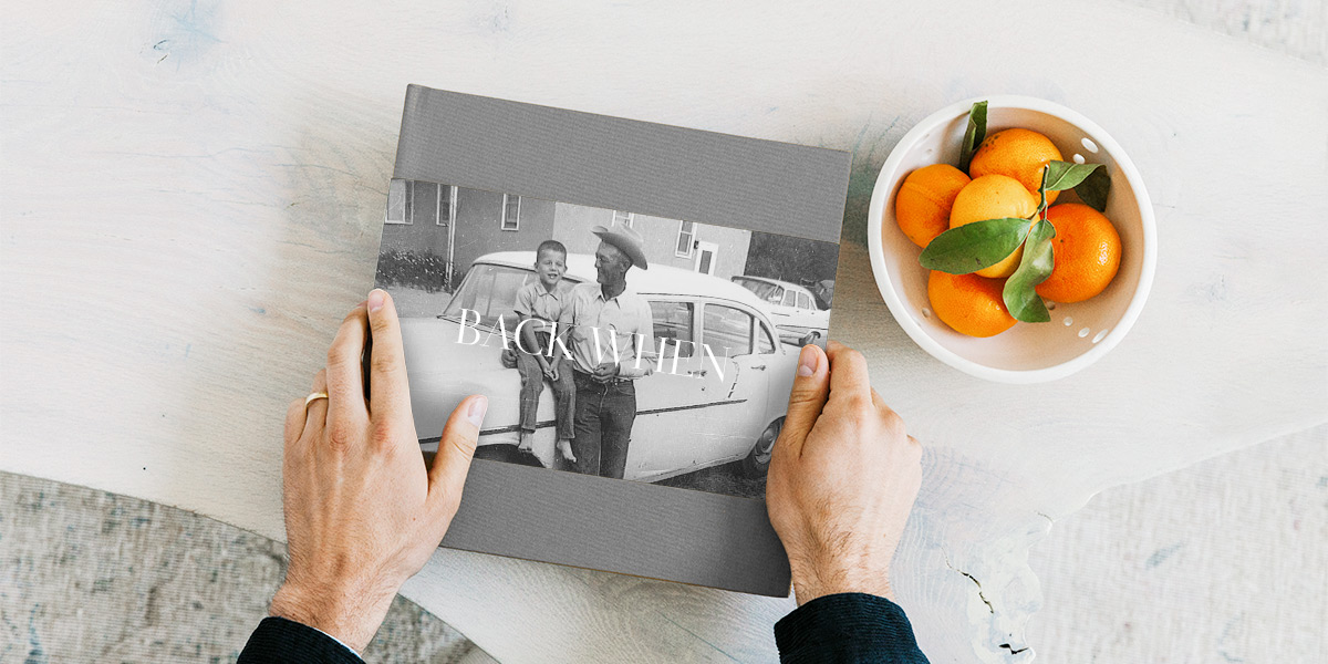 Hardcover photo book featuring scanned photos from childhood